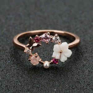 NEW 18K Rose Gold Flower Butterfly Circle Ring